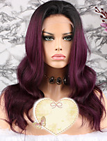 cheap -Remy Human Hair Wig Brazilian Hair Wavy Layered Haircut 130% Density With Baby Hair / 100% Virgin Purple Short / Long / Mid Length Women's