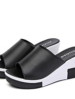 cheap -Women's Shoes Cowhide Summer Comfort Slippers & Flip-Flops Wedge Heel for Casual White Black