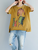 cheap -Women's Cotton Loose T-shirt - Portrait