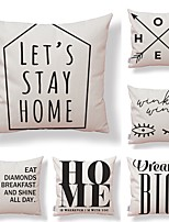 cheap -6 pcs Textile / Cotton / Linen Pillow case, Simple / Check / Printing Square Shaped / Accent / Decorative