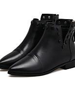 Недорогие -Жен. Обувь Полиуретан Зима Удобная обувь Ботинки На толстом каблуке Заостренный носок Черный
