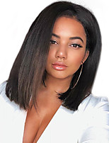 cheap -Remy Human Hair Lace Front Wig / Monofilament Wig Brazilian Hair / Eurasian Hair Straight Bob Haircut 150% Density Natural Hairline / African American Wig Natural / Black Women's Mid Length Human