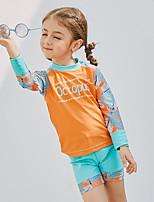 preiswerte -SABOLAY Mädchen Diveskin-Anzug Abnehmbare Kappe, Komfortabel Polyester / Elasthan / Chinlon Langarm Bademode Strandbekleidung Bademode Schwimmen / Outdoor Übungen / Wassersport