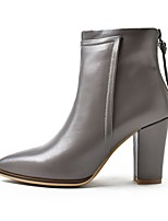 cheap -Women's Shoes Cowhide Fall Combat Boots Boots Chunky Heel Pointed Toe Booties / Ankle Boots for Black Gray Dark Grey Black / Yellow