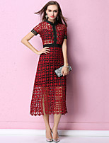 cheap -SHIHUATANG Women's Sophisticated / Street chic A Line Dress - Solid Colored Lace