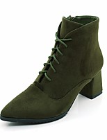 cheap -Women's Shoes Flocking Fall & Winter Combat Boots Boots Chunky Heel Pointed Toe Booties / Ankle Boots Black / Green