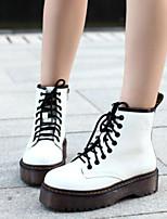 Недорогие -Жен. Обувь Полиуретан Наступила зима Удобная обувь Ботинки На плоской подошве Ботинки Белый / Черный / Вино