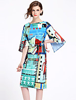 cheap -SHIHUATANG Women's Street chic Shift Dress - Abstract Print
