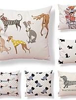 cheap -6 pcs Textile / Cotton / Linen Pillow case, Art Deco / Dog / Printing Simple / Square Shaped