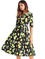 cheap -TS - Dreamy Land Women's Basic A Line Dress - Fruit Lemon, Print