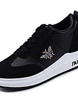 cheap -Women's Shoes PU Spring Fall Comfort Sneakers Flat Heel for White Black
