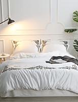 cheap -Duvet Cover Sets Solid Colored Cotton Jacquard / Polyster Applique 4 Piece