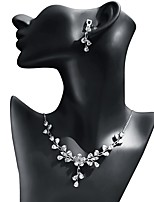 cheap -Women's Cubic Zirconia Jewelry Set - Drop, Flower Fashion, Elegant Include Drop Earrings / Pendant Necklace White For Wedding / Evening Party