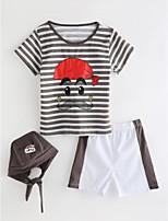 Недорогие -Дети (1-4 лет) Мальчики Однотонный Полоски С короткими рукавами Набор одежды