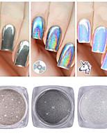 cheap -3pcs Glitter Powder Mirror Effect Nail Glitter Glossy Wedding Event / Party Nail Art Design