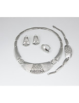 cheap -Women's Jewelry Set - Silver Plated Simple, Basic, Fashion Include Chain Bracelet / Hoop Earrings / Band Ring Silver For Wedding / Evening Party / Bridal Jewelry Sets