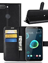 cheap -Case For HTC U11 / HTC Desire 12 Wallet / Card Holder / Flip Full Body Cases Solid Colored Hard PU Leather for HTC U11 plus / HTC U11
