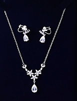 cheap -Women's Cubic Zirconia Jewelry Set - Drop, Flower Fashion, Elegant Include Drop Earrings / Pendant Necklace White For Wedding / Engagement