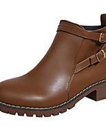 Недорогие -Жен. Обувь Полиуретан Осень Ботильоны Ботинки На толстом каблуке Ботинки для Повседневные Черный Коричневый