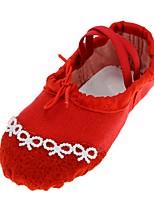 abordables -Femme Chaussures de Ballet Toile Plate Perle fausse Talon Plat Chaussures de danse Noir / Rouge / Intérieur / Entraînement