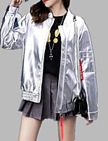 Недорогие -Жен. Кожаные куртки Активный - Однотонный / Буквы