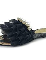 cheap -Women's Shoes Tulle Summer Comfort Slippers & Flip-Flops Flat Heel White / Black