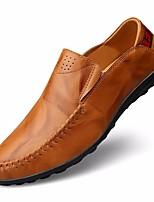 Недорогие -Муж. обувь Кожа Осень Удобная обувь / Мокасины Мокасины и Свитер Черный / Коричневый / Синий