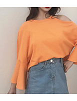 cheap -Women's Vintage T-shirt - Solid Colored Pleated