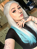economico -Parrucche Lace Front Sintetiche Liscio Parte di mezzo 150% Densità dei capelli umani Capelli sintetici Resistente al calore / Feste / Da donna Argento Parrucca Per donna Lungo Lace frontale