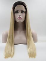 Недорогие -Синтетические кружевные передние парики / Омбре Прямой Средняя часть 130% Человека Плотность волос Искусственные волосы Градиент / Лучшее