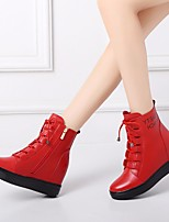 cheap -Women's Shoes Leather Spring / Fall & Winter Combat Boots Boots Wedge Heel Mid-Calf Boots Black / Red