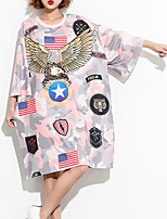 cheap -Women's Cotton Loose T-shirt - Geometric