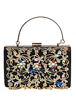 cheap -Women's Bags PU Leather Evening Bag Crystals / Flower for Wedding / Event / Party Black / Silver / Red