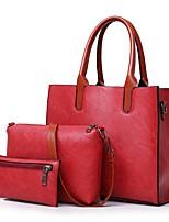 cheap -Women's Bags PU Bag Set 3 Pcs Purse Set Zipper Red / Gray / Brown