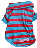 cheap -Dogs / Cats / Pets Shirt / T-Shirt / T-shirts Dog Clothes Striped / Patterned / Quotes & Sayings Fuchsia / Red / Light Blue Cotton Costume