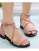 cheap -Girls' Shoes PU Summer Comfort / Flower Girl Shoes Sandals for Black / Army Green / Pink