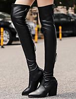 abordables -Femme Chaussures Polyuréthane Hiver Bottes à la Mode Bottes Talon Bottier Cuissarde Noir