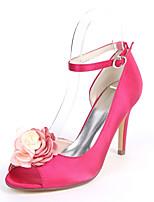 abordables -Femme Chaussures Satin Printemps été Escarpin Basique Chaussures de mariage Talon Aiguille Bout ouvert Fleur en Satin Bleu de minuit /