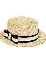 Недорогие -Жен. Винтаж Праздник Соломенная шляпа Шляпа от солнца - Бант Лён, Гусиная лапка