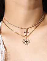 cheap -Women's Cross Choker Necklace Pendant Necklace Layered Necklace  -  Double Layered Simple LOVE Gold 35cm Necklace For Party / Evening