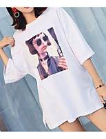 abordables -Tee-shirt Femme, Couleur Pleine / Portrait - Coton