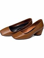cheap -Women's Shoes Nappa Leather / Cowhide Spring & Summer Comfort / Basic Pump Heels Chunky Heel Black / Coffee / Dark Green