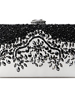 cheap -Women's Bags Rhinestones Evening Bag Crystals for Wedding / Event / Party Black / White
