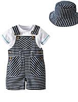 Недорогие -Дети Дети (1-4 лет) Мальчики Однотонный Полоски С короткими рукавами Набор одежды