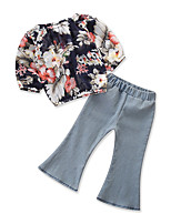 cheap -Toddler Girls' Floral Print Long Sleeve Clothing Set