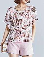 Недорогие -Жен. С принтом Блуза Уличный стиль Цветочный принт