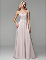 cheap -A-Line Spaghetti Strap Floor Length Satin Formal Evening Dress with Beading by TS Couture®