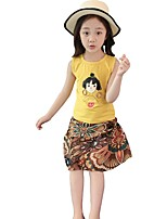 cheap -Kids Girls' Tropical Leaf Print Sleeveless Clothing Set
