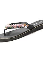 cheap -Women's Shoes PU(Polyurethane) Summer Comfort Slippers & Flip-Flops Flat Heel Beading White / Black