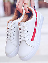 cheap -Women's Shoes PU Spring Comfort Sneakers Flat Heel for Casual Silver Red Blue